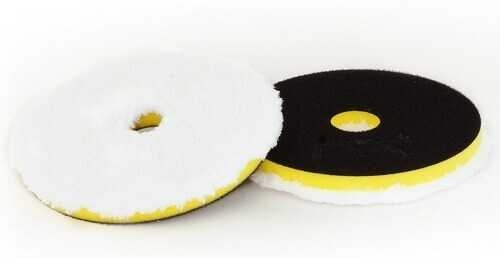 Microfiber Pad DA 135 White With Black Velcro And Hole on The Middle