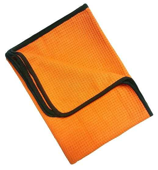 Orange Microfiber Towel Goofer With black strips around high quality towel