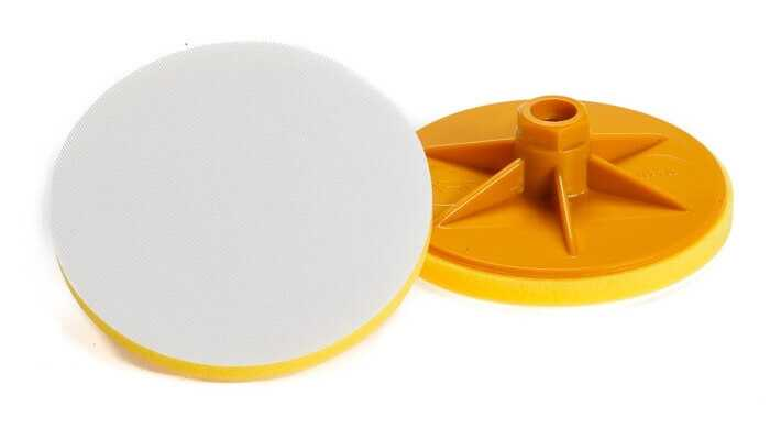 Backing Plate Yellow With Velcro 125 mm with Spindle M14
