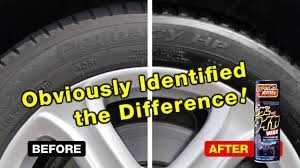 Leather and Tire Wax two tires before and after use wax